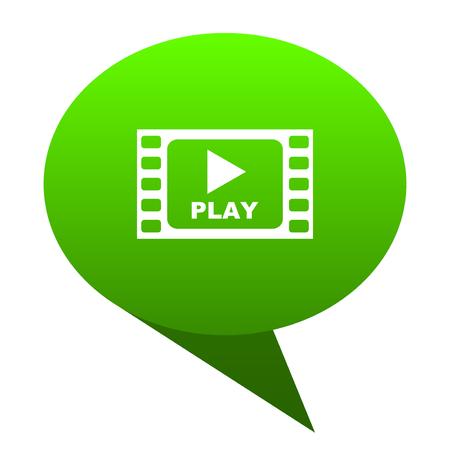 Play video green bubble web icon