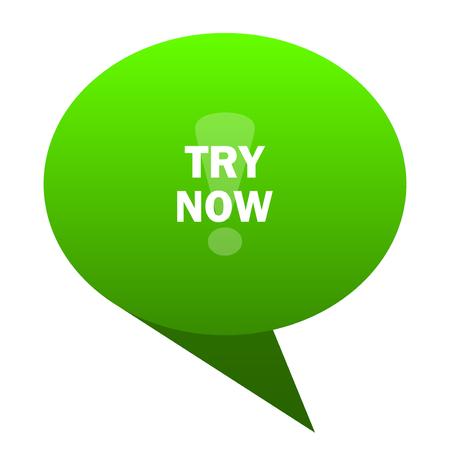 essayez maintenant icône web bulle verte Banque d'images