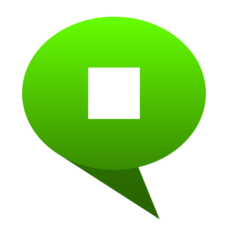eject icon: stop green bubble web icon