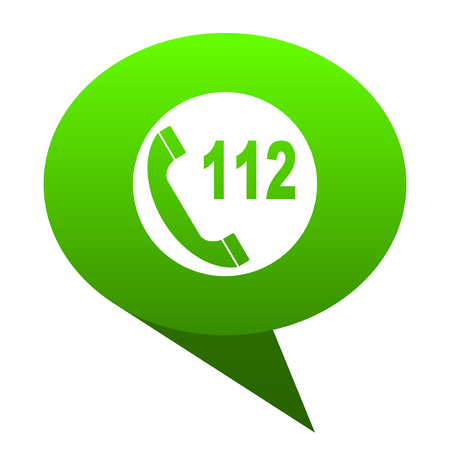 emergency call: emergency call green bubble web icon Stock Photo