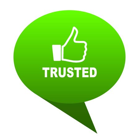 trusted: trusted green bubble web icon Stock Photo