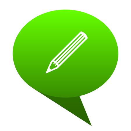 desing: pencil green bubble web icon