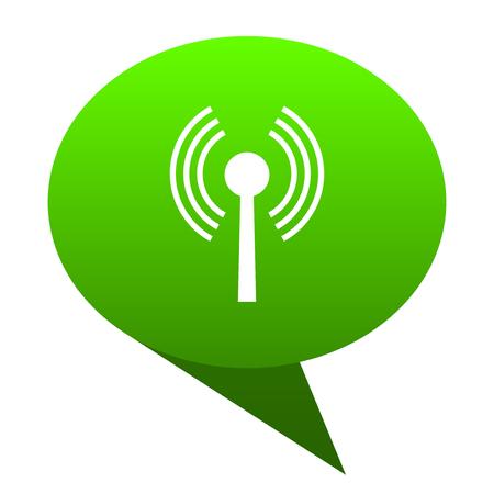 wifi green bubble web icon Stock Photo