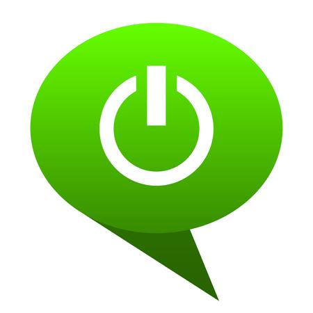 Power green bubble web icon Stock Photo