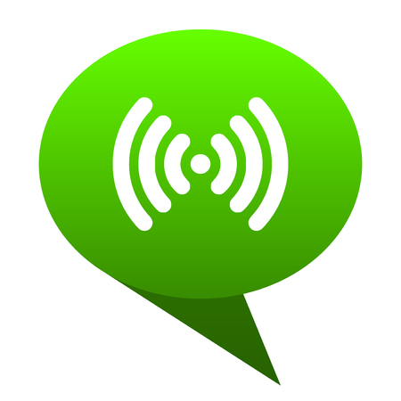 wifi green bubble web icon Stock Photo