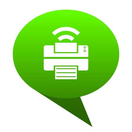 printer green bubble web icon Stock Photo