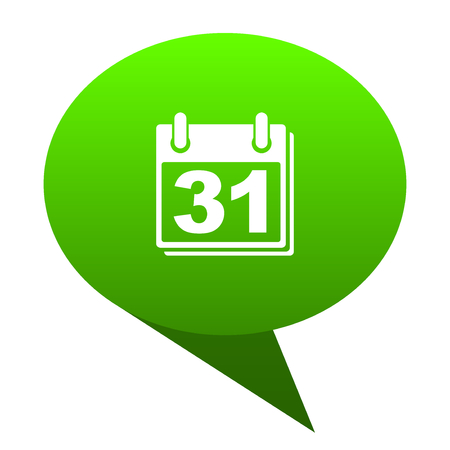 calendar green bubble web icon Stock Photo