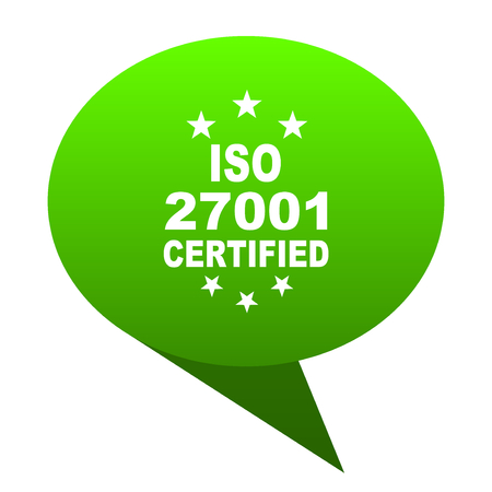 iso 27001 green bubble web icon