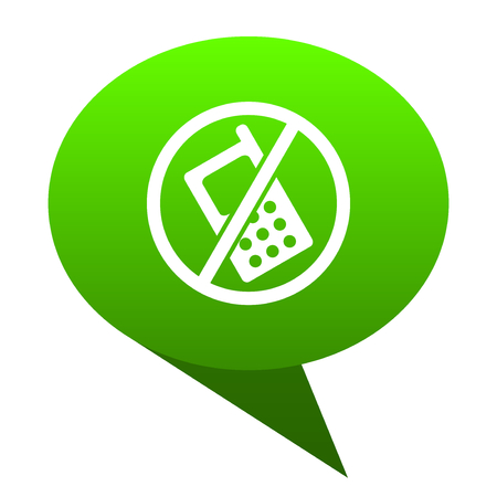 no phone green bubble web icon Stock Photo