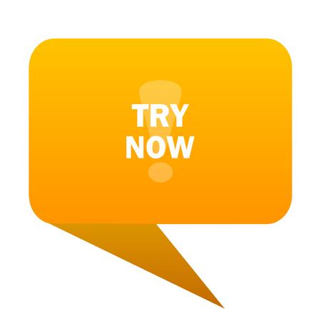 try now orange bulb web icon isolated.