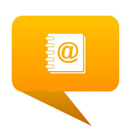address book orange bulb web icon isolated.
