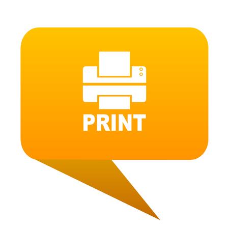 printer orange bulb web icon isolated.