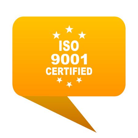 iso 9001 orange bulb web icon isolated.
