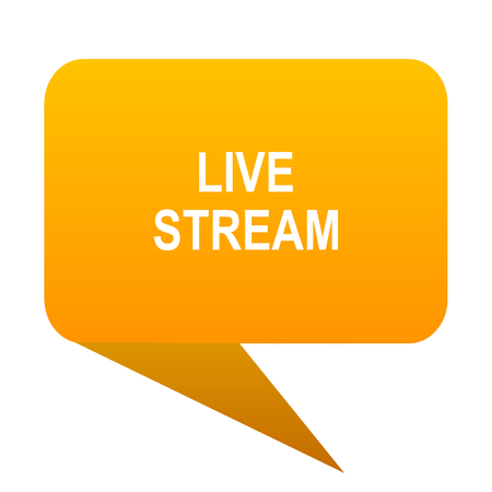 live stream orange bulb web icon isolated. Stock Photo