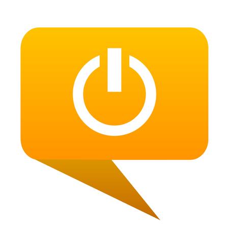 Power orange bulb web icon isolated.