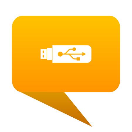 pendrive: usb orange bulb web icon isolated.