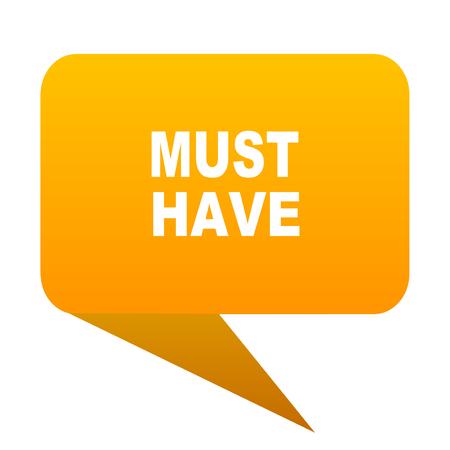 must have orange bulb web icon isolated. Stock Photo