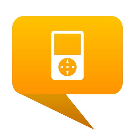 Multimedia player orange bulb web icon isolated.
