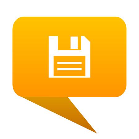 Floppy Disk orange bulb web icon isolated.