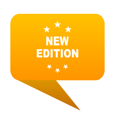 new edition orange bulb web icon isolated. Stock Photo