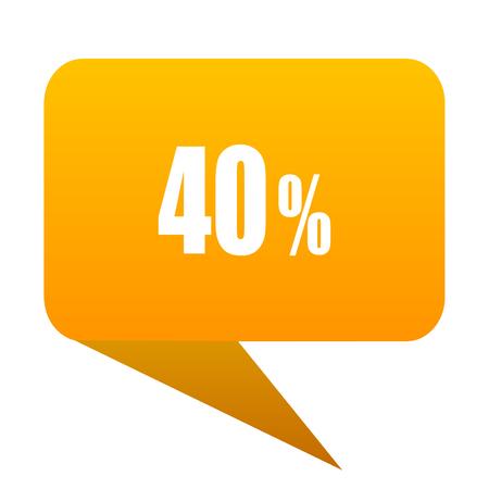 40: 40 percent orange bulb web icon isolated.