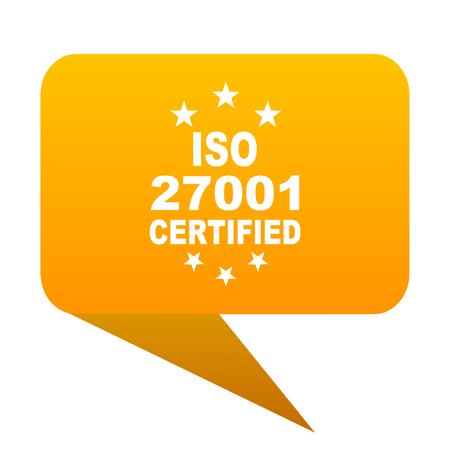 iso 27001 orange bulb web icon isolated. Stock Photo