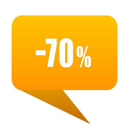 70 percent sale retail orange bulb web icon isolated. Stock Photo
