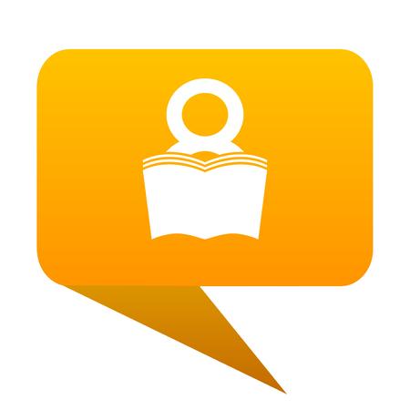 book orange bulb web icon isolated. Stock Photo