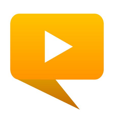 play orange bulb web icon isolated.