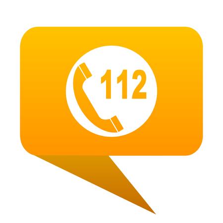 emergency call: emergency call orange bulb web icon isolated.