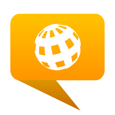 parallel world: earth orange bulb web icon isolated.