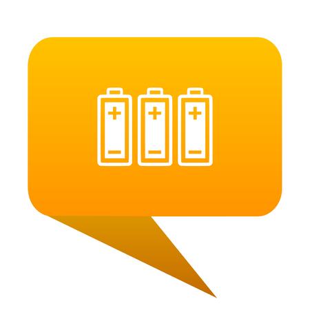 battery orange bulb web icon isolated.