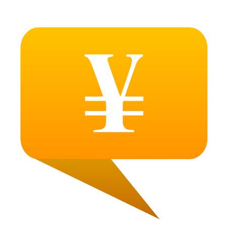 yen note: yen orange bulb web icon isolated.
