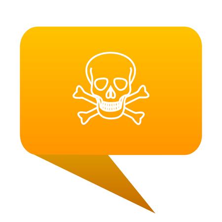 skull orange bulb web icon isolated.
