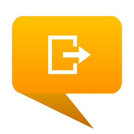 Exit orange bulb web icon isolated.