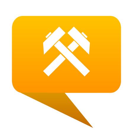 mining orange bulb web icon isolated.