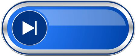 space television: Next long blue web and mobile apps banner isolated on white background.