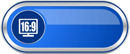 16 9: 16 9 display long blue web and mobile apps banner isolated on white background.