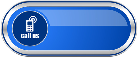 blue buttons: Call us long blue web and mobile apps banner isolated on white background.