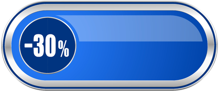 30 percent sale retail long blue web and mobile apps banner isolated on white background.