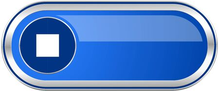 eject icon: Stop long blue web and mobile apps banner isolated on white background.