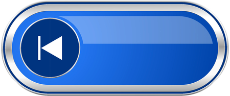 eject icon: Prev long blue web and mobile apps banner isolated on white background.