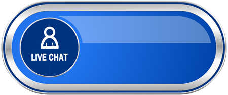 Live chat long blue web and mobile apps banner isolated on white background.