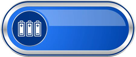 accuse: Battery long blue web and mobile apps banner isolated on white background.