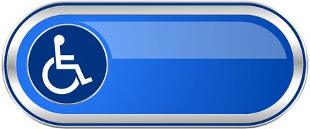 Rolstoel lang blauw Web en mobiele die appsbanner op witte achtergrond wordt geïsoleerd.