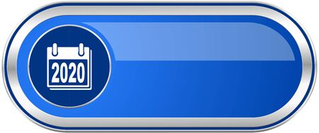 next year: New year 2020 long blue web and mobile apps banner isolated on white background.