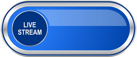 Live stream long blue web and mobile apps banner isolated on white background.