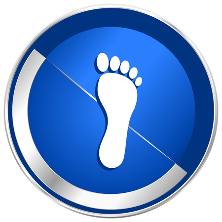massage symbol: Foot blue silver metallic web and smartphone vector icon isolated on white background in eps 10. Illustration