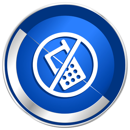 no cell phone: No phone blue silver metallic web and smartphone vector icon isolated on white background in eps 10.