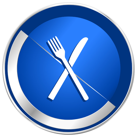 Restaurant blue silver metallic web and smartphone vector icon isolated on white background in eps 10.